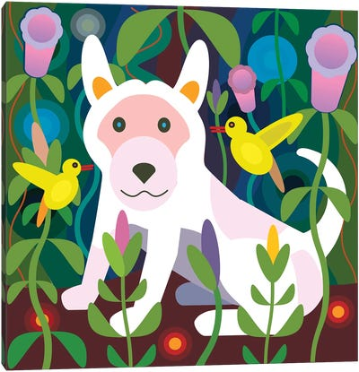 White Dog Garden - Square Canvas Art Print