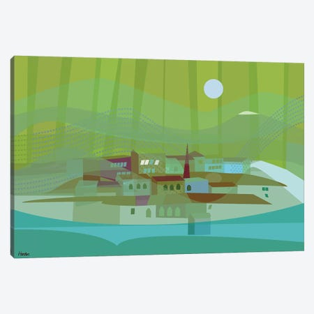 Fishing Village Canvas Print #HRK137} by Charles Harker Canvas Wall Art