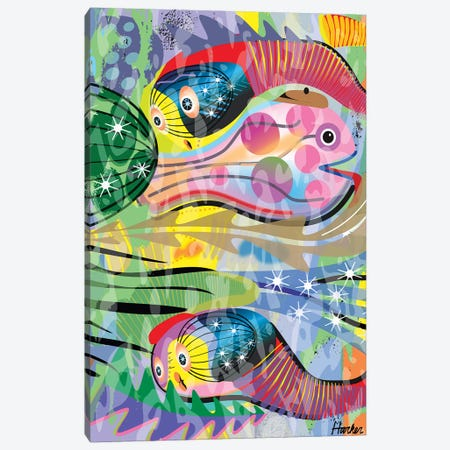 Hippy Fish in Rainbow Canvas Print #HRK139} by Charles Harker Canvas Print