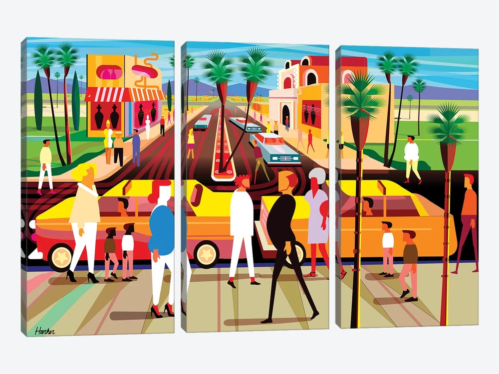 El Paseo Palm Springs by Charles Harker 3-piece Canvas Print