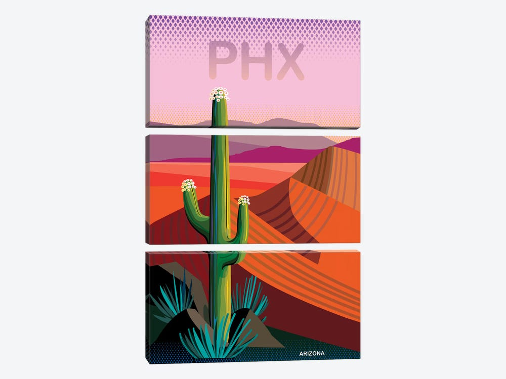 Phoenix Travel Poster II by Charles Harker 3-piece Canvas Print