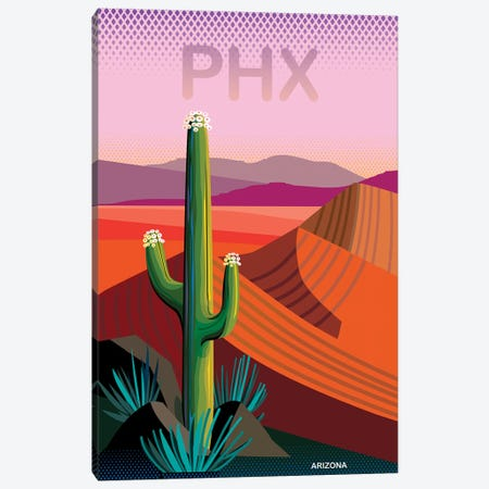 Phoenix Travel Poster II 3-Piece Canvas #HRK149} by Charles Harker Canvas Wall Art