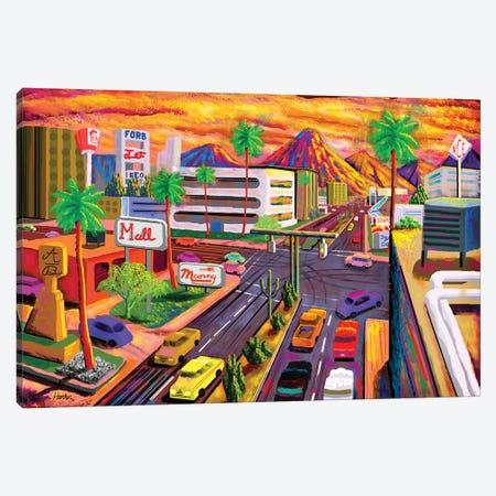 Camelback Road Phoenix  3-Piece Canvas #HRK158} by Charles Harker Canvas Art Print
