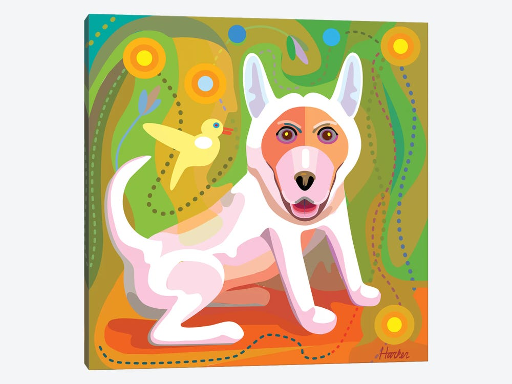 White Dog by Charles Harker 1-piece Art Print