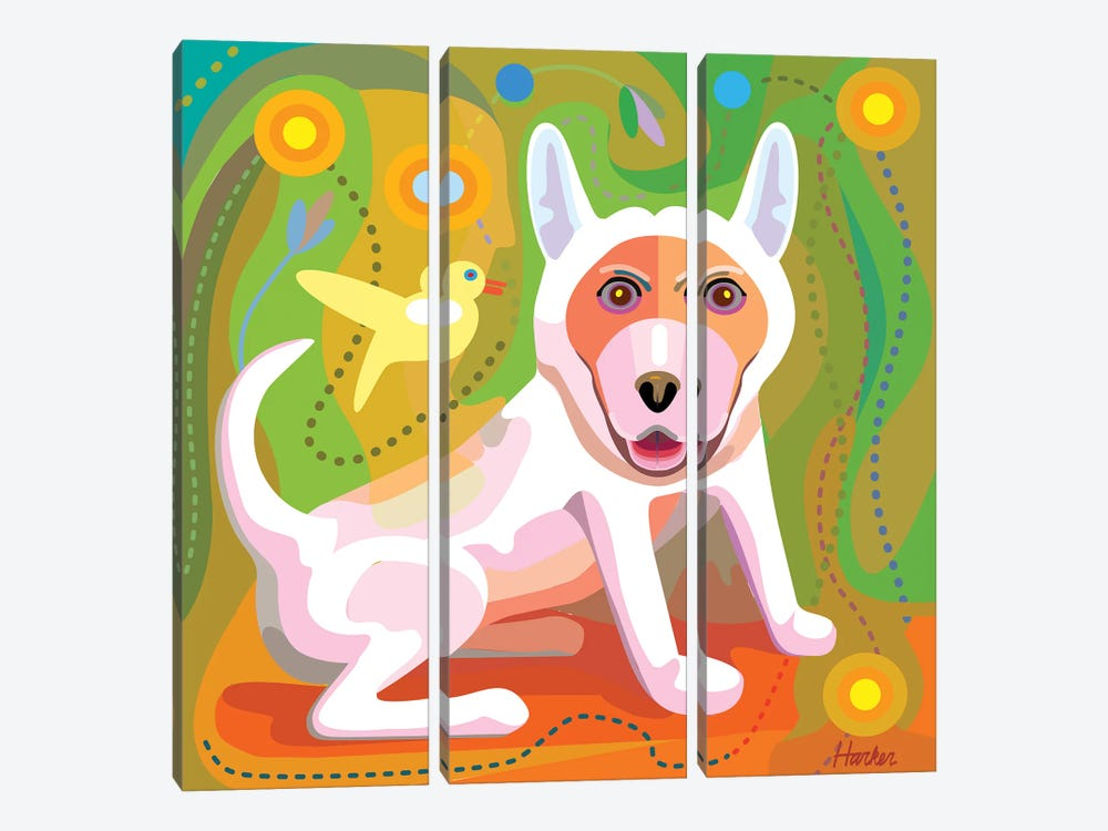 White Dog by Charles Harker 3-piece Art Print