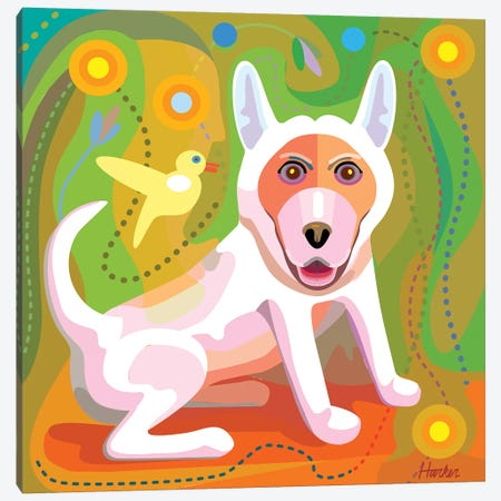 White Dog Canvas Print #HRK165} by Charles Harker Art Print