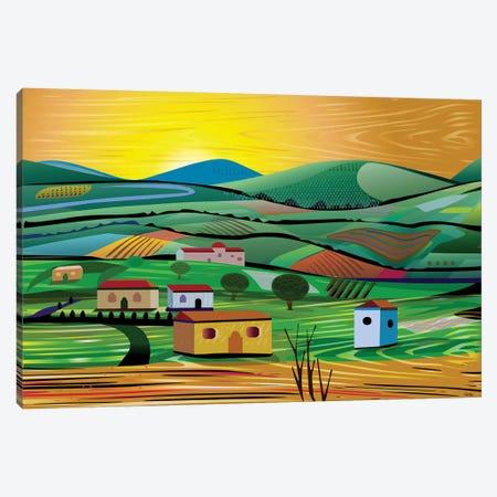 Sunset Fields Canvas Print #HRK192} by Charles Harker Art Print