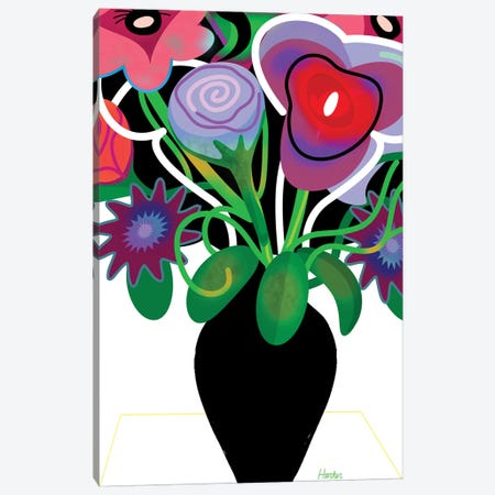 Vase With Flowers Canvas Print #HRK197} by Charles Harker Canvas Artwork