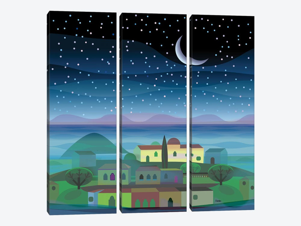 Island Moon by Charles Harker 3-piece Canvas Wall Art