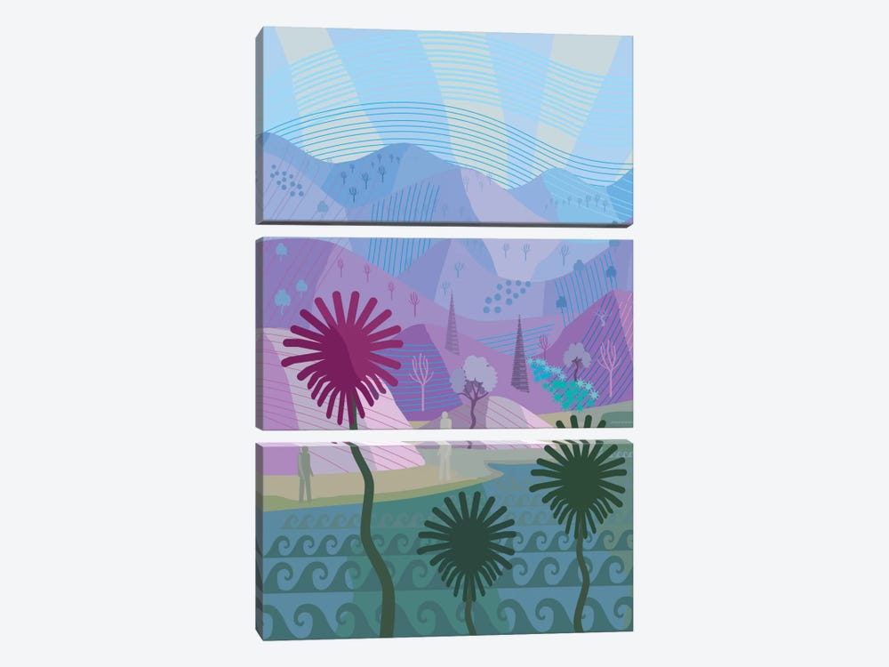 Land And Sea by Charles Harker 3-piece Canvas Art Print
