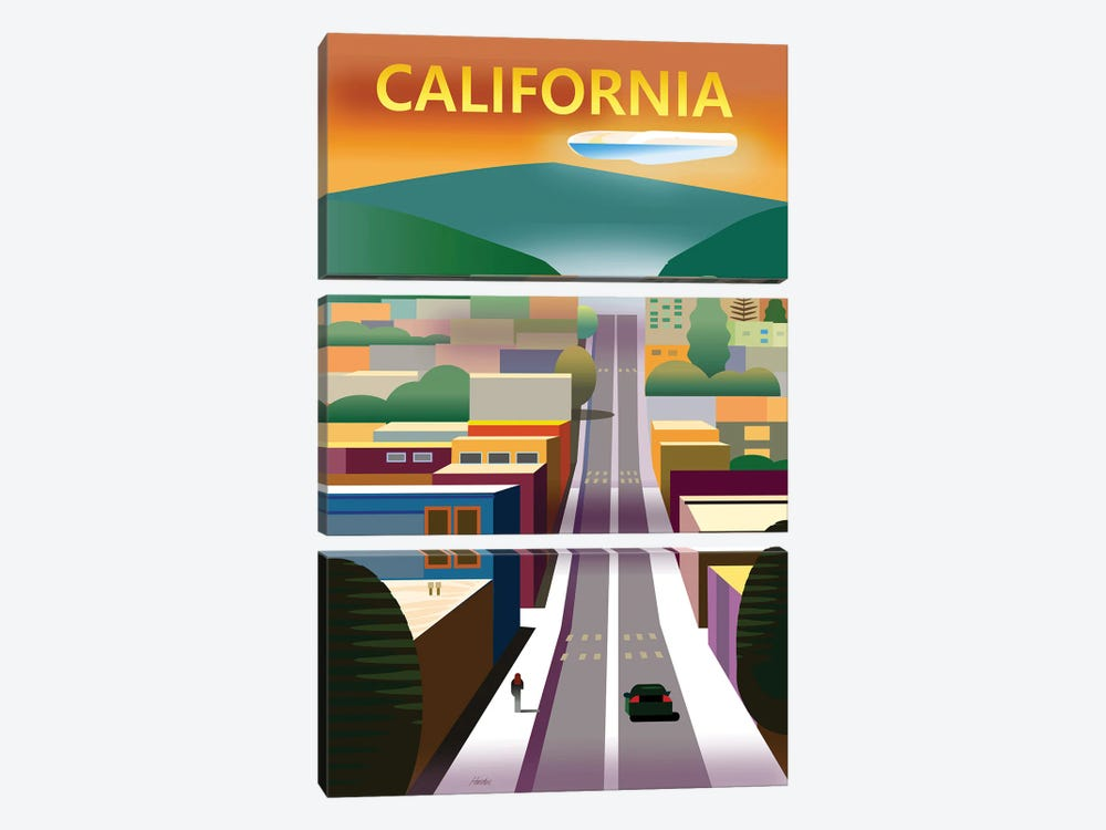California Street by Charles Harker 3-piece Canvas Print