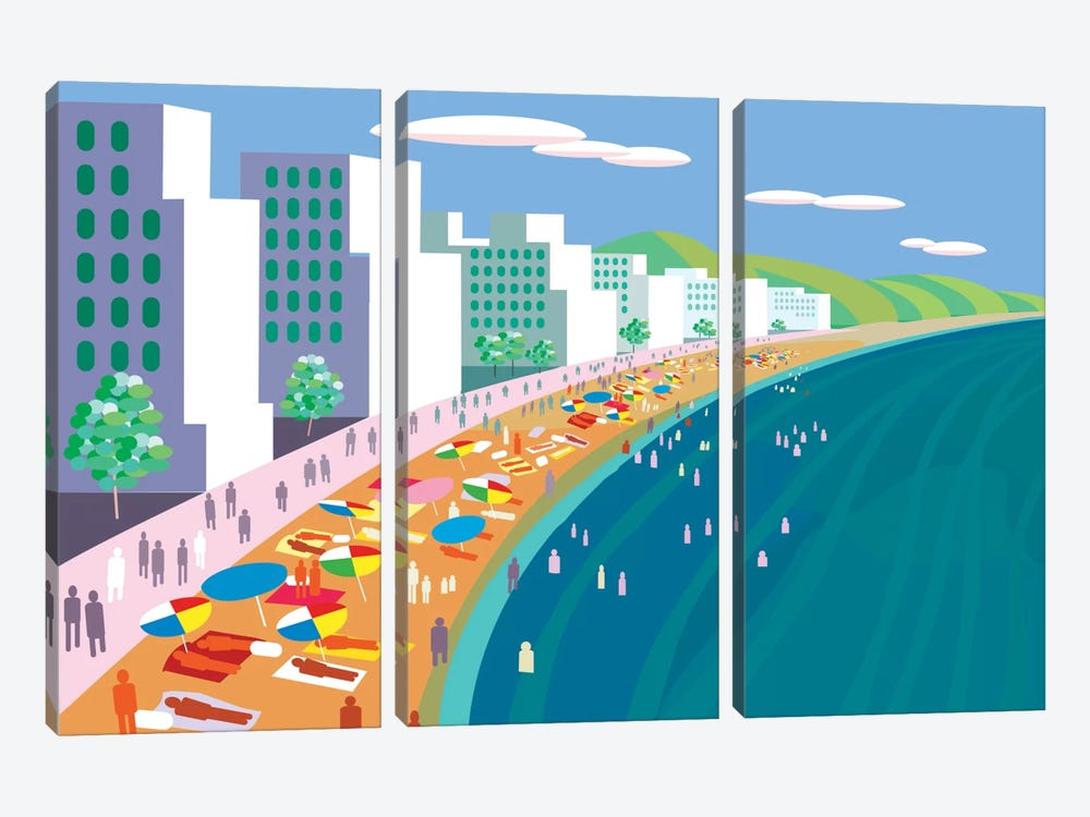 Malecon by Charles Harker 3-piece Canvas Wall Art