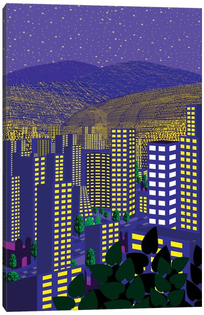Mexico City At Night Canvas Art Print