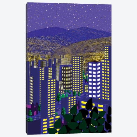 Mexico City At Night Canvas Print #HRK26} by Charles Harker Canvas Artwork