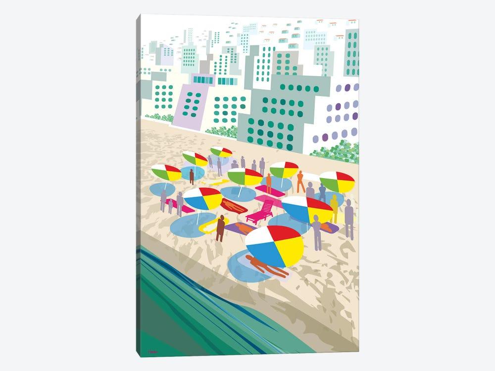 Beach Scene by Charles Harker 1-piece Canvas Print