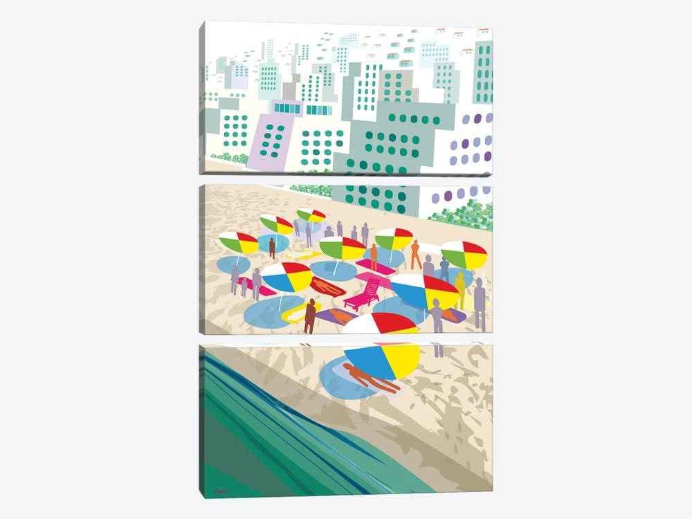 Beach Scene by Charles Harker 3-piece Art Print