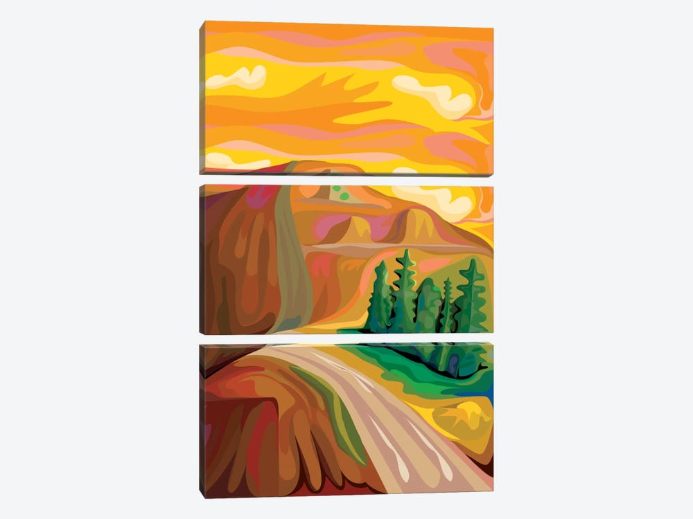 Mountain Road by Charles Harker 3-piece Canvas Wall Art