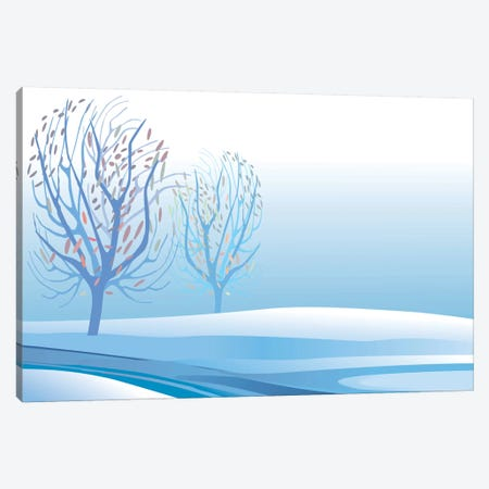Winter Landscape Canvas Print #HRK52} by Charles Harker Canvas Wall Art