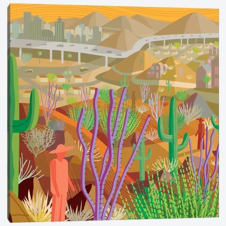 Desert City Phoenix Canvas Print #HRK5} by Charles Harker Canvas Artwork