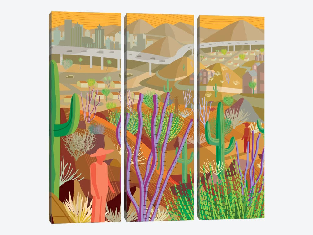 Desert City Phoenix by Charles Harker 3-piece Canvas Wall Art