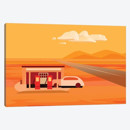 Tonopah Gas Station Canvas Print #HRK60} by Charles Harker Canvas Print