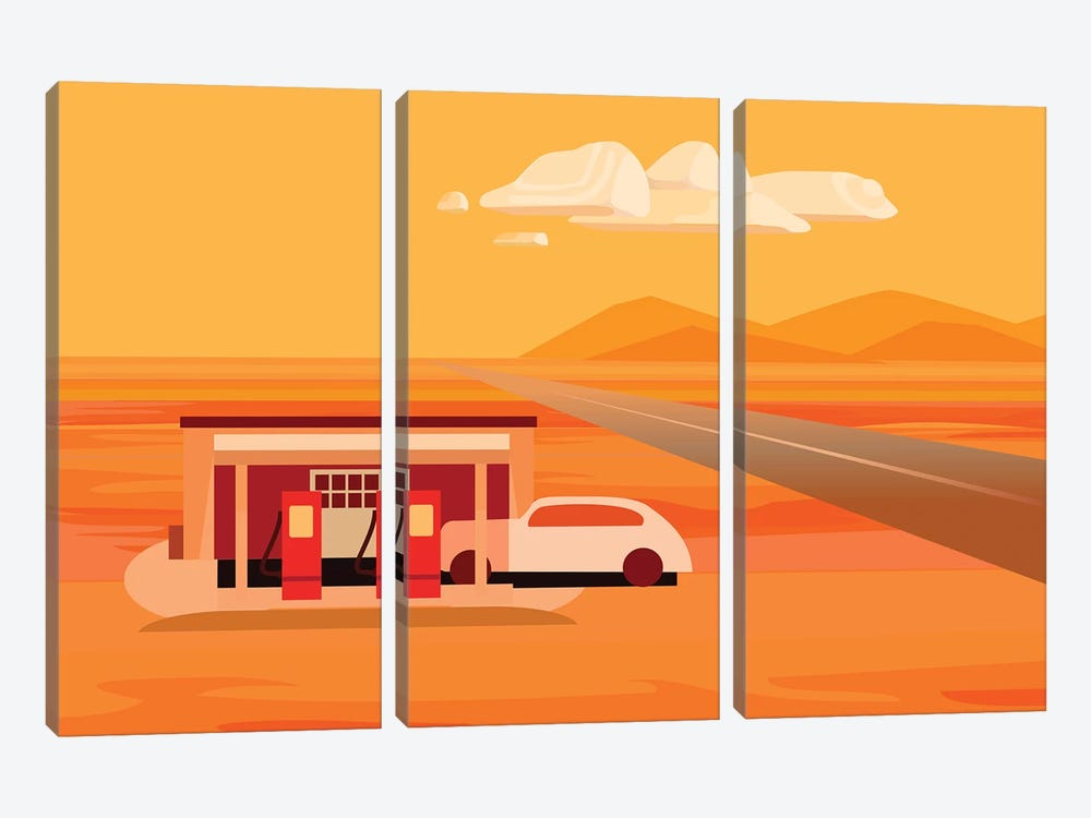 Tonopah Gas Station by Charles Harker 3-piece Canvas Print