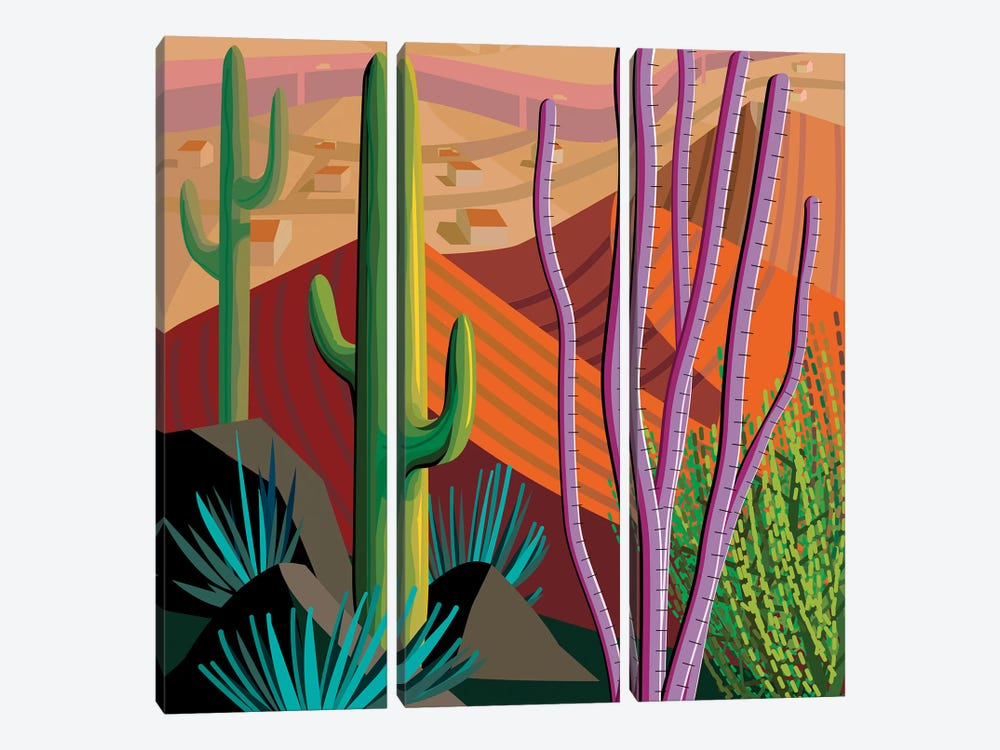 Tucson, Square by Charles Harker 3-piece Canvas Print
