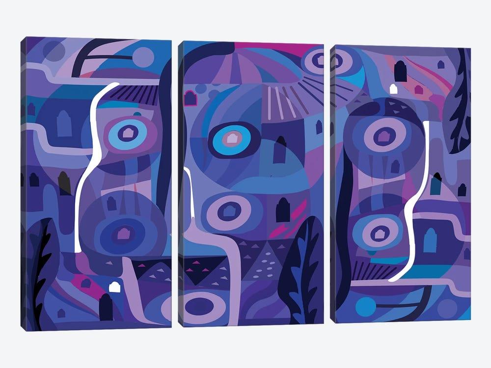 Blue Pozole  by Charles Harker 3-piece Canvas Art Print