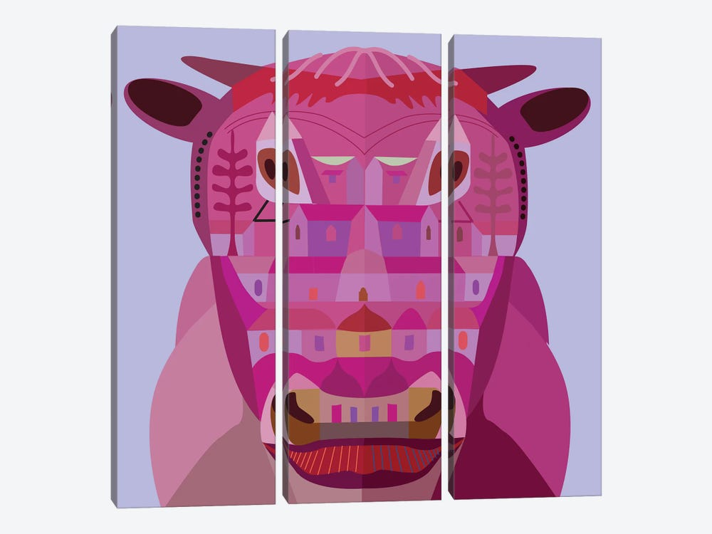 Cow In Los Angeles by Charles Harker 3-piece Canvas Wall Art