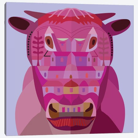 Cow In Los Angeles Canvas Print #HRK70} by Charles Harker Canvas Wall Art