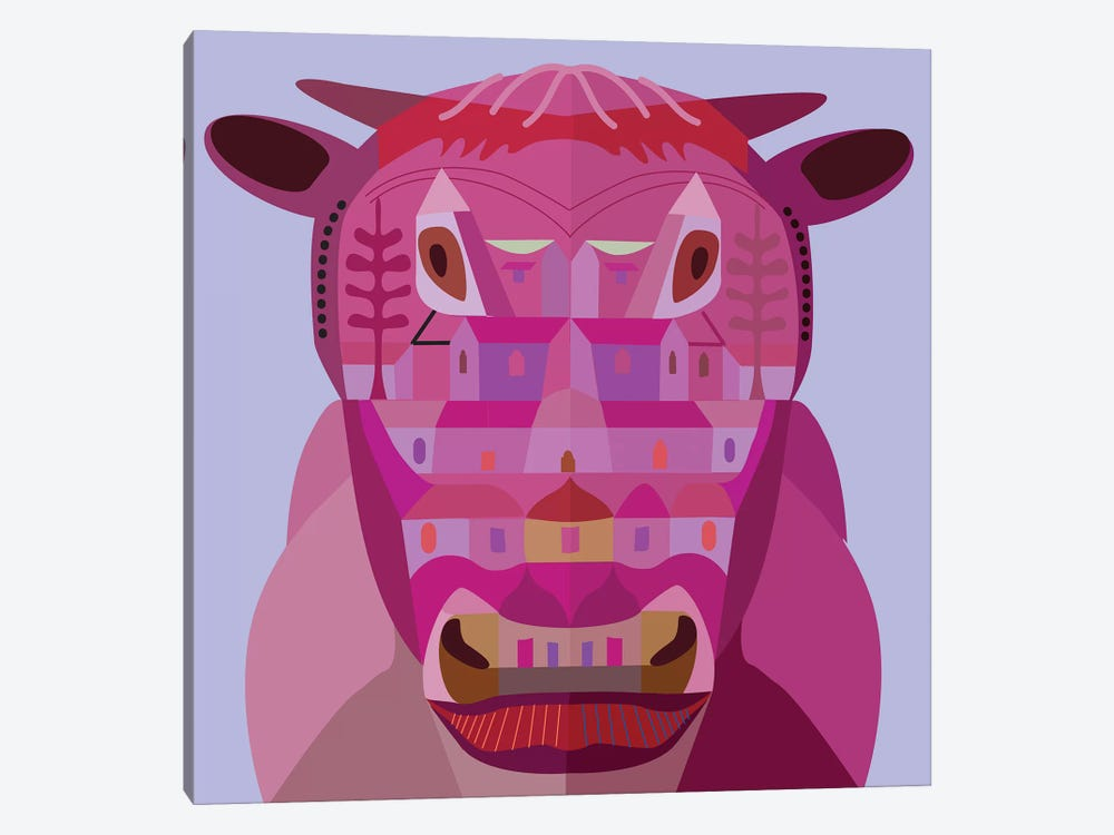 Cow In Los Angeles by Charles Harker 1-piece Canvas Art