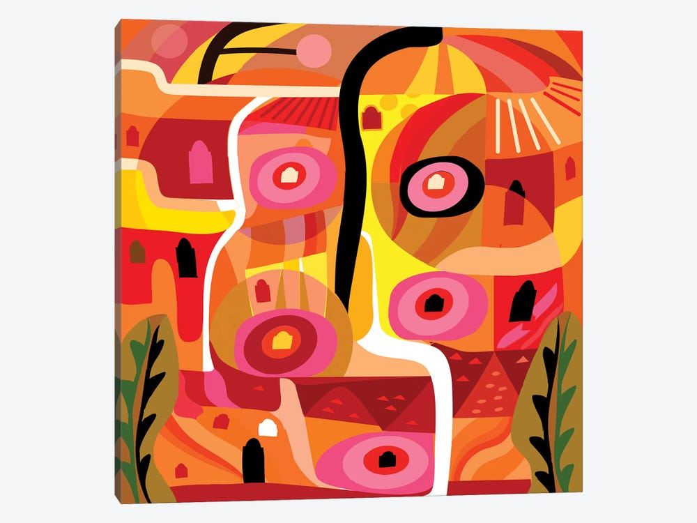 Orange Silverlake  by Charles Harker 1-piece Canvas Art Print