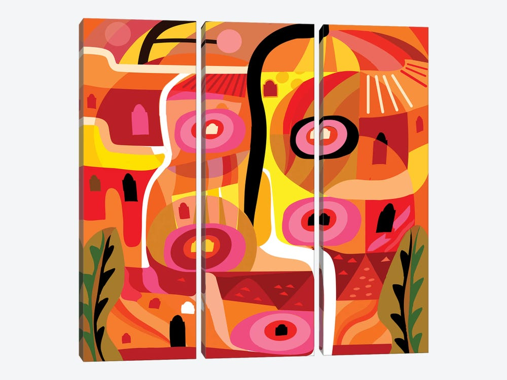 Orange Silverlake  by Charles Harker 3-piece Art Print