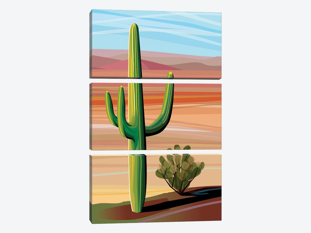 Sonora Desert Saguaro by Charles Harker 3-piece Canvas Art Print