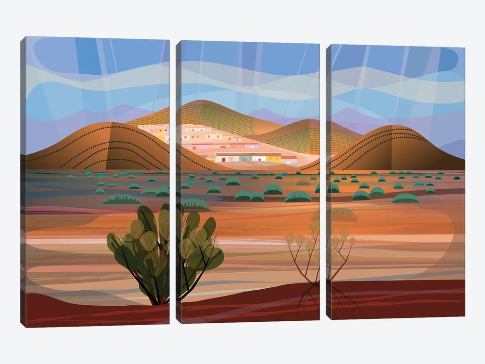 Copper Town by Charles Harker 3-piece Canvas Print