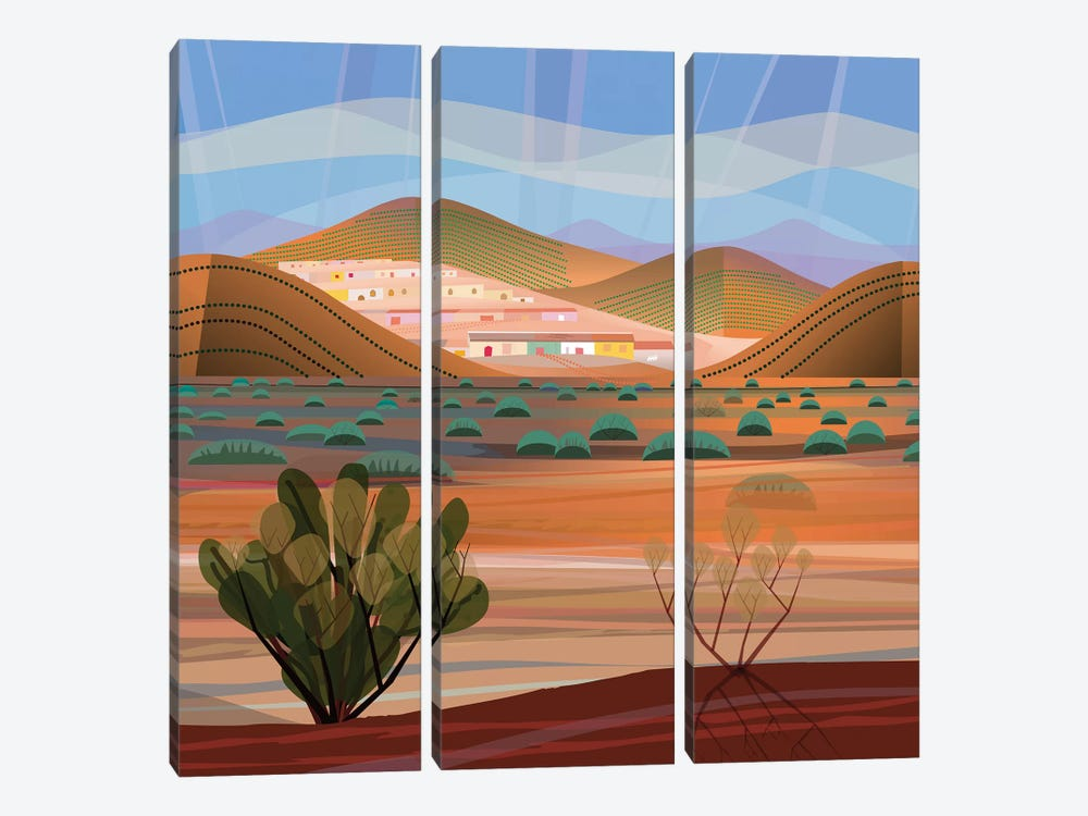 Copper Town, Square by Charles Harker 3-piece Canvas Artwork