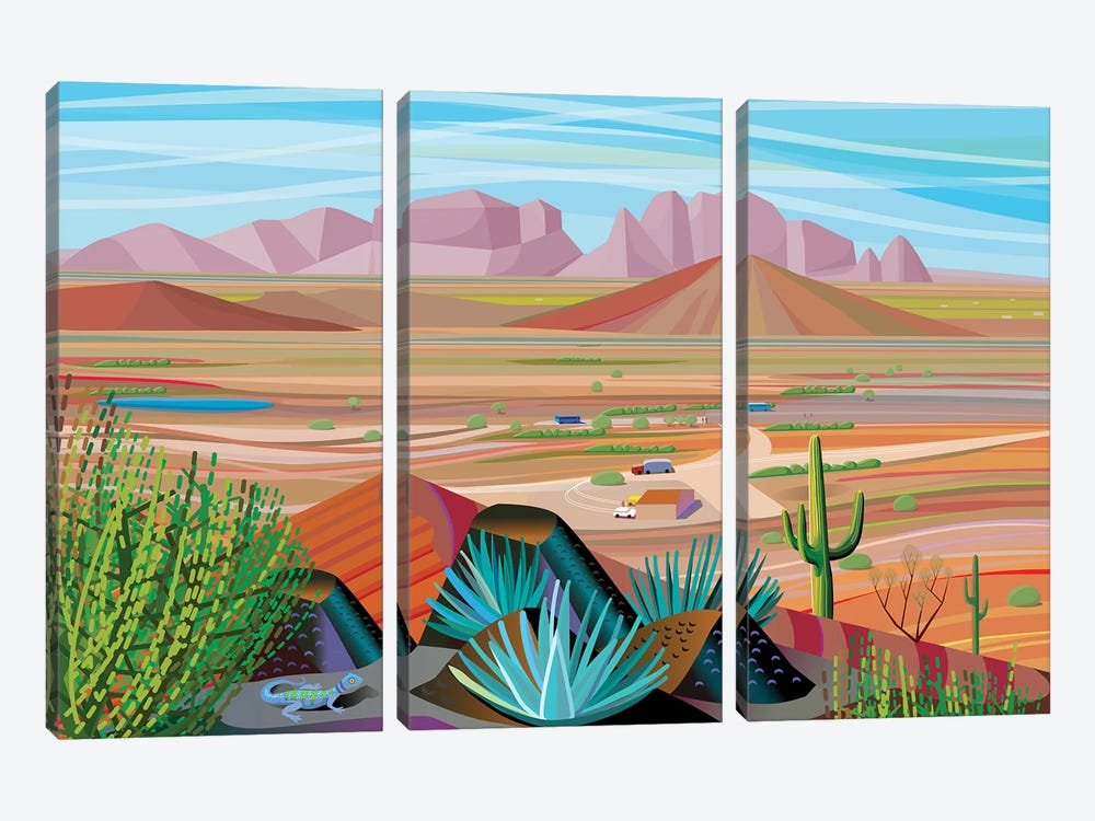 West Of Phoenix by Charles Harker 3-piece Canvas Art Print