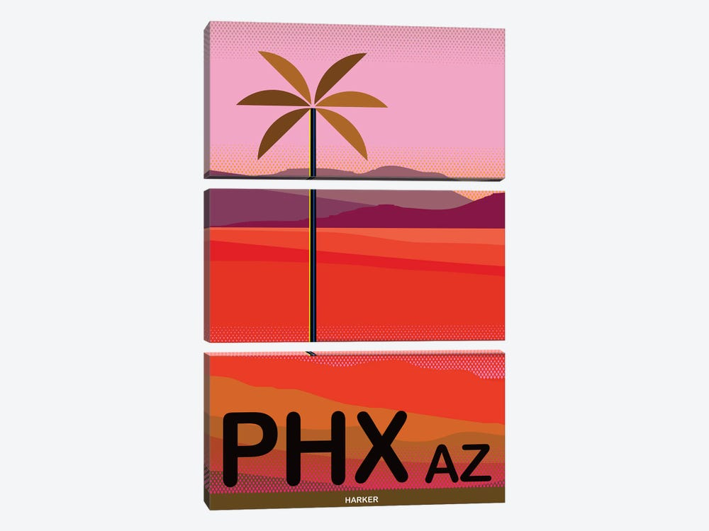 Phoenix Travel Poster by Charles Harker 3-piece Canvas Wall Art