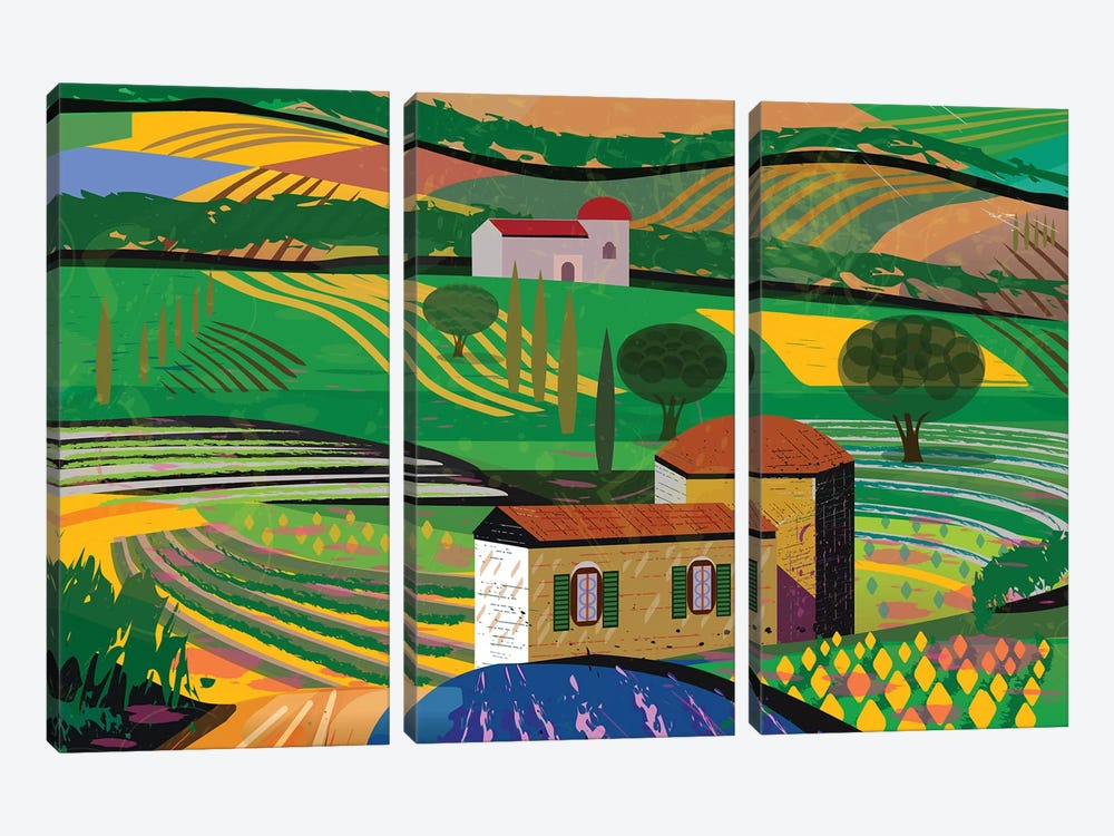 Summer Fields by Charles Harker 3-piece Canvas Art Print