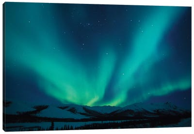 Aurora Borealis Above The Endicott Mountains, Brooks Range, Alaska, USA Canvas Art Print