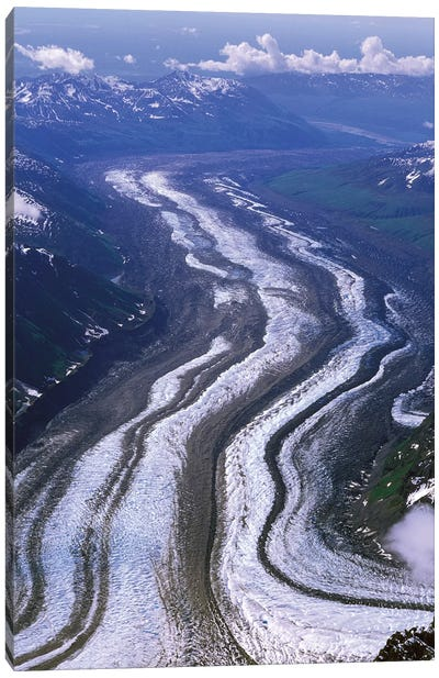 Aerial View, Tokositna Glacier, Denali National Park & Preserve, Alaska, USA Canvas Art Print