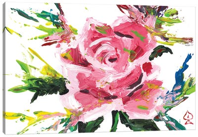Pink Rose Abstract Canvas Art Print