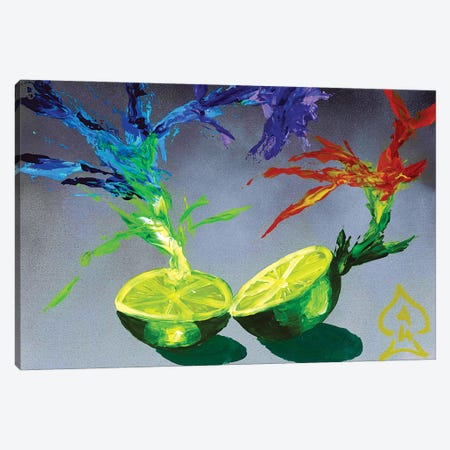 Lime Explosion Canvas Print #HRR36} by Andrew Harr Canvas Artwork