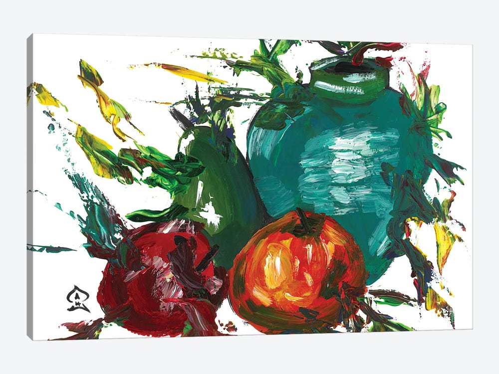 Fruits and Vase by Andrew Harr 1-piece Canvas Artwork