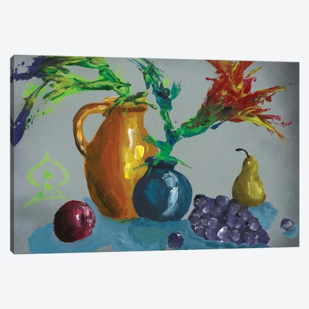 Fruits and Vase Abstract II Canvas Print #HRR41} by Andrew Harr Canvas Wall Art