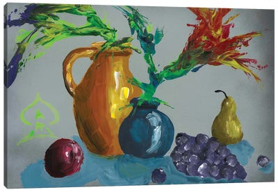 Fruits and Vase Abstract II Canvas Art Print