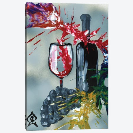 Wine And Bottle Abstract Canvas Print #HRR51} by Andrew Harr Canvas Print