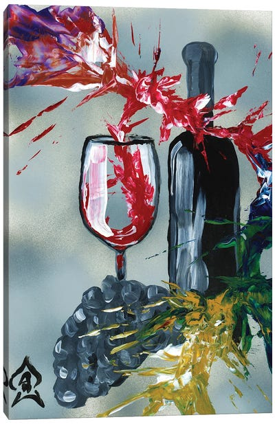 Wine And Bottle Abstract Canvas Art Print