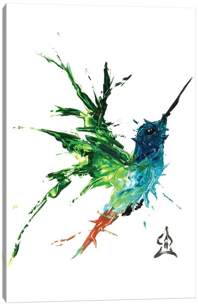Hummingbird Abstract Canvas Art Print