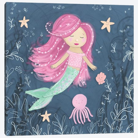 Mermaid and Octopus Navy I Canvas Print #HRW34} by hartworks Canvas Print